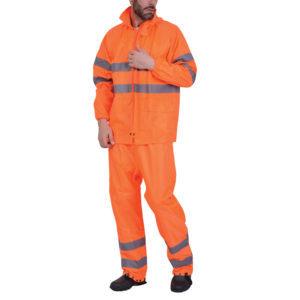 Σετ σακάκι/παντελόνι αδιάβροχο πορτοκαλί POLYAMIDE