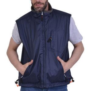 Γιλέκo διπλής όψης µπλε µε εσωτερική γκρι επέvδυση fleece